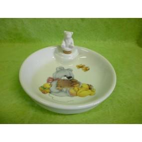 ASSIETTE  CHAUFFANTE DECOR OURS & LAPIN (bouchon ourson)en porcelaine