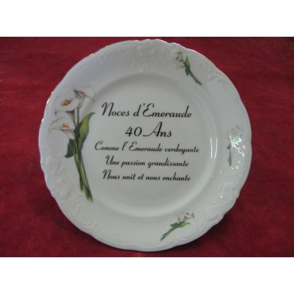 Assiette d cor noces en porcelaine centre vaisselle for Decoration 40 ans de mariage
