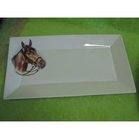 PLAT RECTANGULAIRE JAPAN en Porcelaine décor CHEVAL  Gd modèle