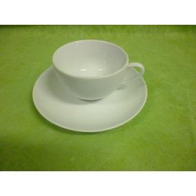 TASSE A CAFE ou THE LOUVRE 21cl avec sous tasse en porcelaine blanche