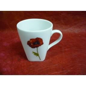 TASSE café Capuccino 15cl Décor COQUELICOT 15 cl en porcelaine