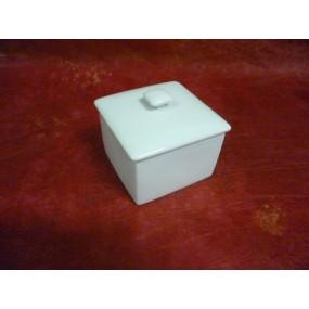PETIT POT / SUCRIER CARRE en porcelaine blanche
