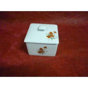 SUCRIER CARRE decor COQUELICOT en porcelaine blanche