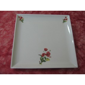 PLAT CARRE PLAT en porcelaine decor BOUQUET COQUELICOT