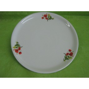 PLAT A TARTE / PIZZA 30cm en Porcelaine decor Coquelicot bouquet
