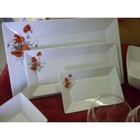 ENS 3 PLATS RECTANGULAIRES JAPAN en Porcelaine DECOR COQUELICOTS FEUILLAGE GRIS