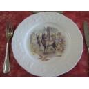 ASSIETTE PLATE décor CHASSE CHEVREUIL en Porcelaine de Limoges CALIFORNIA
