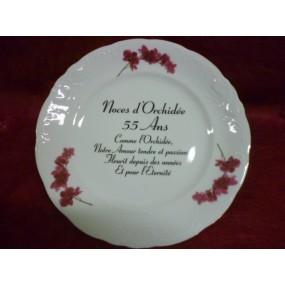 ASSIETTE NOCE 55 ans Mariage en Porcelaine DECOR ORCHIDEE n°2