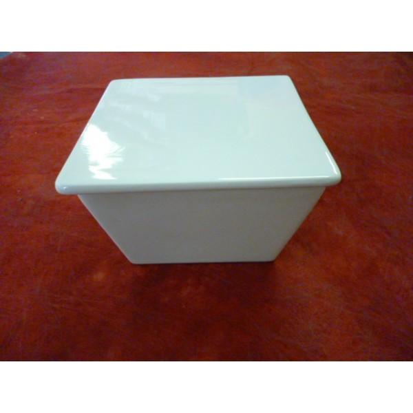 Saladier haut carre avec couvercle moyen 12x12cm en - Saladier porcelaine blanche ...