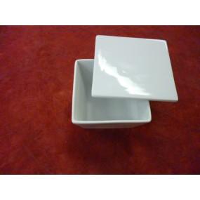 COUPELLE carree ou SALADIER HAUT avec couvercle  10x10cm en porcelaine blanche