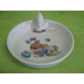 ASSIETTE  CHAUFFANTE DECOR  LAPIN BLEU (bouchon CANETON)en porcelaine