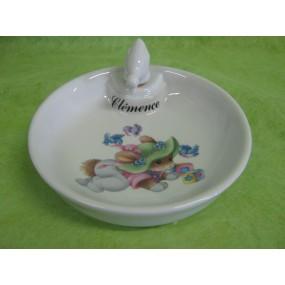 ASSIETTE  CHAUFFANTE DECOR  LAPIN au chapeau vert (bouchon CANETON)en porcelaine