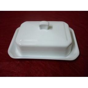 BEURRIER RECTANGULAIRE 250 g BOUTON  en porcelaine blanche