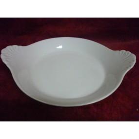 PLAT ROND A OREILLES 30cl GRAND modèle en porcelaine blanche