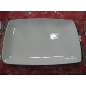 PLAT RECTANGULAIRE SAHARA en porcelaine blanche