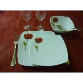 SERVICE DE TABLE  Modèle SAHARA Coquelicot 18 pcs en PORCELAINE