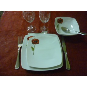 SERVICE DE TABLE  Modèle SAHARA Coquelicot 36 pcs en PORCELAINE
