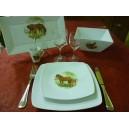 """SERVICE DE TABLE 20 pcs SAHARA DECOR """"CHEVAL & SON POULAIN"""" en PORCELAINE"""