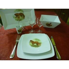 """SERVICE DE TABLE 26 pcs SAHARA DECOR """"CHEVAL & SON POULAIN"""" en PORCELAINE"""