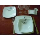 SERVICE DE TABLE  Modèle carré SAHARA décor OIES 48 pcs en PORCELAINE