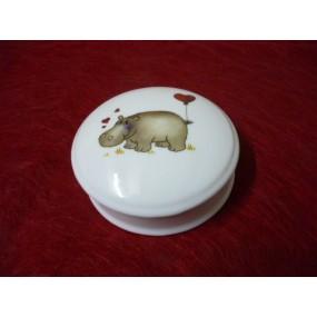 BOITE à bijoux ronde Narcisse ou BONBONNIERE DECOR HIPPOPOTAME EN PORCELAINE