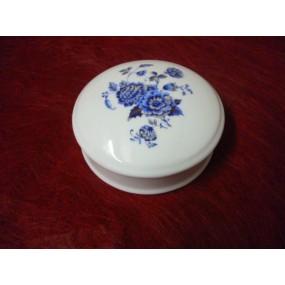 BOITE à bijoux ronde Narcisse ou BONBONNIERE de 10cm DECOR FLEUR BLEUE EN PORCELAINE