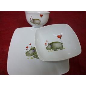 ENS 2 ASSIETTES CARREE SAHARA + BOL en porcelaine DECOR HIPPOPOTAME