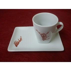 TASSE A CAFE capuccino 10cl en Porcelaine Décor CORAIL avec plateau rectangulaire