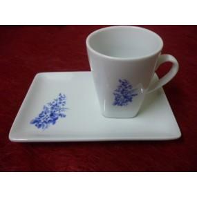 TASSE A CAFE capuccino 10cl en Porcelaine Décor BLEU LUISA avec plateau rectangulaire