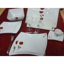 SERVICE DE TABLE 40 PCS OCEANE DECOR COQUELICOT en PORCELAINE