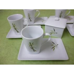 TASSE A CAFE CAPUCCINO carrée 15cl DECOR BAMBOU avec soustasse rectangulaire en porcelaine