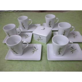 Service à Café CAPUCCINO 6 tasses 15cl +soustasses + sucrier Décor BAMBOU en Porcelaine