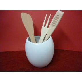 Pot a ustensiles boule ou vase 150cl en porcelaine blanche centre vaisselle sarl la porcelaine - Pot a ustensiles ...
