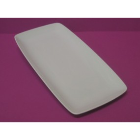 PLAT RECTANGULAIRE SAHARA 36x18cm en porcelaine blanche