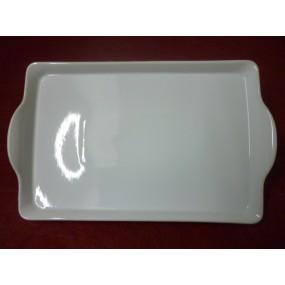 PLATEAU DE SERVICE rectangulaire ISIS en porcelaine blanche