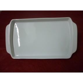 PLATEAU DE SERVICE rectangulaire A ANSES en porcelaine blanche