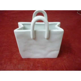 SAC à anses cabas Grand modèle en porcelaine blanche