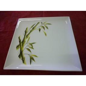 PLAT CARRE PLAT en porcelaine decor BAMBOU