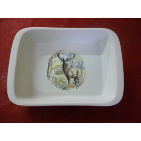PLAT A FOUR RECTANGULAIRE 300cl en porcelaine DECOR CERF 34x24cm