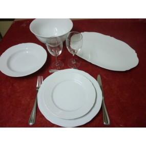 SERVICE DE TABLE CLARA 38 pièces EN PORCELAINE BLANCHE