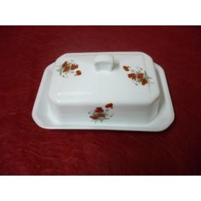 BEURRIER RECTANGULAIRE 250 g BOUTON  en porcelaine DECOR COQUELICOT