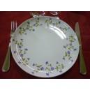 ASSIETTE PLATE DECOR BARBEAU Fleurs bleues Modèle ELYSEE en Porcelaine