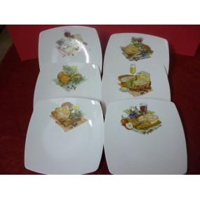 SERVICE A FROMAGE 6 ASSIETTES carrées en porcelaine décors de fromage