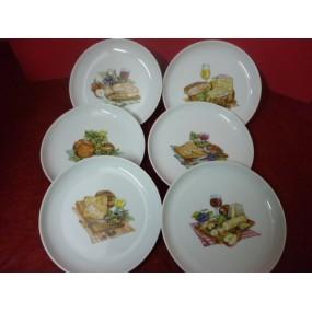 SERVICE A FROMAGE 6 ASSIETTES rondes en porcelaine décors de fromage