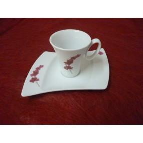 TASSE A CAFE OCEANE DECOR ORCHIDEE  AVEC SOUSTASSE en porcelaine