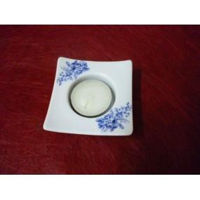 BOUGEOIR CARRE DESIGN DECOR FLEURS BLEUES LUISA avec bougie en porcelaine