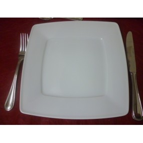 ASSIETTE PLATE CARRE VICTORIA en porcelaine blanche