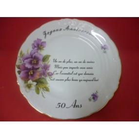 ASSIETTE ANNIVERSAIRE en Porcelaine Fryderyka en porcelaine Filet Or