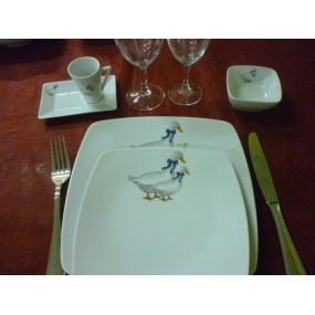 ASSIETTE PLATE carrée SAHARA DECOR OIES  en porcelaine