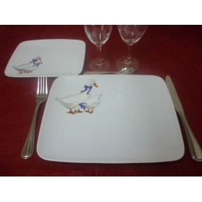 ASSIETTE PLATE MIKADO DECOR OIES EN PORCELAINE